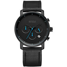 Baogela Men's Watches Quartz Movement Black Leather Strap Waterproof Wrist Watch