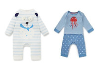 New Ex M*S Baby Boys Blue Cute Cotton Dog Romper Playsuit Babygrow Outfit