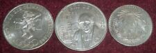 3 LARGE OLD MEXICO .720 SILVER CROWNS: 1 PESO - 25 PESOS 1932 - 1968, 66+ Gms TW