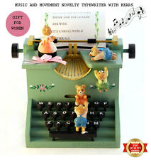 Mothers Gift Music & Movement Typewriter Box w Bears Novelty Wooden Women Ladies