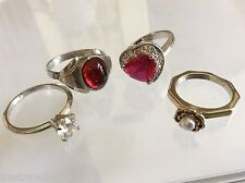Lot of 4 VTG Retro Silver tone metal Crystal CZ White Pearl Faux Fashion Rings