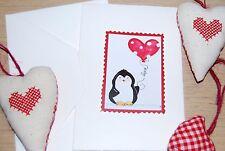 biglietto auguri fatto a mano amore - pinguino palloncino cuore