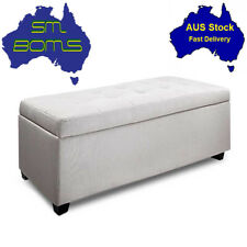 Blanket Linen Fabric Ottoman Storage Toy Box Chest Foot Bed Stool Beige- Large