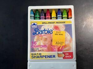 Vintage 1989 Mattel Barbie Golden 16 Crayons w/Sharpener School Quality