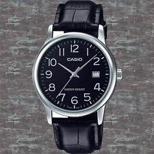 Casio MTP-V002L-1B Mens Black Analog Watch Black Leather Band Date Indicator New