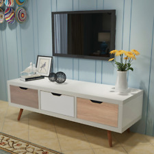 White TV Stand Retro Entertainment Unit Storage Cabinet Low Sideboard 3 Drawers