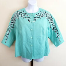 Bob Mackie Wearable Art Womens Plus Size 1X Mint Green Floral Button Jacket NWT