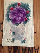 Antique Postcard Merry Christmas Heavily Embossed Germany Doves Flowers Birds
