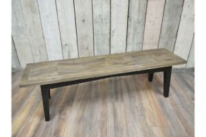 Occasional Bench With Metal Base and Brilliant Wood Panel Effect Seating