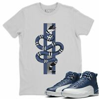 Snake Sneaker Matching Shirt- AJ 12 Stone Blue Indigo Outfit