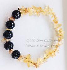 Gemstone Crystal Citrine ChipStone N Black Onyx Beads Stretchy Bracelet