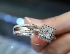 Band Ring Set 925 Sterling Silver 2Ct Princess White Moissanite Halo Engagement