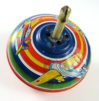 Vintage Tin Spinning Top, Red Blue Yellow Green White Stripes w/Airplanes