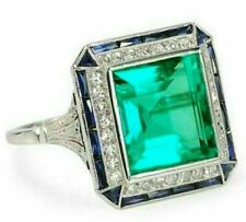 925 Sterling Silver Art Deco 2.95CT Emerald Cut Green Diamond Engagement Ring