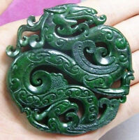 CHINESE OLD HANDWORK CARVE GREEN JADE DRAGON PENDANT