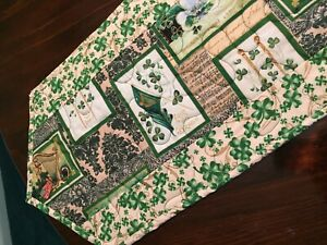 Handcrafted-Quilted Table Runner-St. Patrick's Day - Shamrocks and Symbols