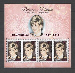 RM142 2017 ROMANIA FAMOUS PEOPLE PRINCESS DIANA !!! OVERPRINT IN MEMORY KB MNH
