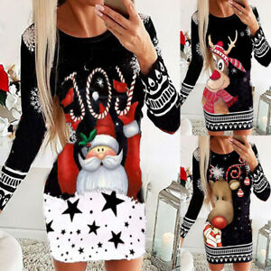 Womens Christmas Floral Bodycon Mini Dress Ladies Casual Knitted Sweater Jumper