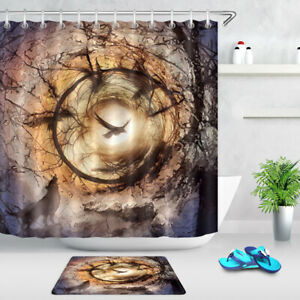 """Wild Animals Wolf Crows Circle of Lives Waterproof Fabric Shower Curtain Set 72"""""""
