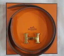 Authentic HERMES Constance Reversible black brown belt with gold H buckle
