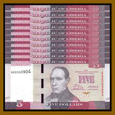 Liberia 5 Dollars x 10 Pcs, 2016 P-31 New Design Unc