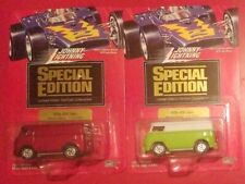 2 Johnny Lightning Special Edition Green/White & Red '60s VW Van