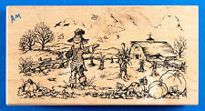 PSX Autumn Field Rubber Stamp K-1880 Scarecrow Pumpkin Patch Fall Farm Harvest