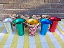 Set of 5 Anodized Aluminum Tumblers with Woven Cup Holders Coozies Vintage Color