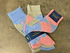 NEW Polo Ralph Lauren 3 Pairs Combed Cotton Argyle Dress Socks Pink Blue Gray