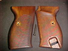 Walther P38 P1 Fine Walnut Horizontal Lined Pistol Gun Grips Beautiful! w/Screw