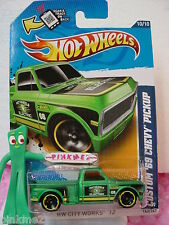 2012 Hot Wheels CUSTOM '69 CHEVY PICKUP truck #140∞GREEN∞ Electric∞City Works