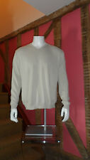 XL Cream Long Sleeve V Neck Sweater in 100% Cotton by Marlboro Classics