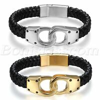 Punk Rock Stainless Steel Magnetic Buckle Handcuffs Men's Leather Bracelet Cuff