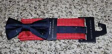 NEW Tommy Hilfiger 100% Silk Bow Tie & Pocket Square Set Blue Red Christmas NWT