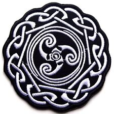 Celtic Patch Ireland Embroidered Iron Sew On Applique Cross Motif biker punk