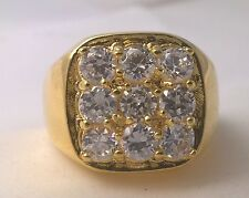 G-Filled Men's 18ct yellow gold ring simulated diamond 12.7 grams Gents stylish