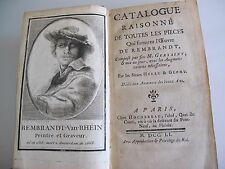 livre catalogue raisonné de toutes les pièces Rembrandt 1751 Gersaint supplément
