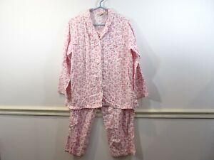LL Bean Woman's 2 Pc Cotton Flannel Pajamas White Pink Floral Print Size LP