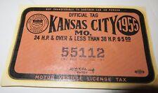 VTG 1955 OFFICIAL TAG MOTOR VEHICLE LICENSE TAX WINDOW DECAL Kansas City, MO