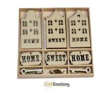Craft Emotions Boîte of 55 FORMES EN BOIS Ornements HOME SWEET HOME 0215