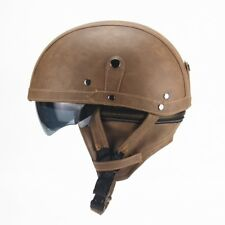 Light Brown Harley Motorcycle PU Leather Helmet Open Face Fit For M/L/XL 56-61cm
