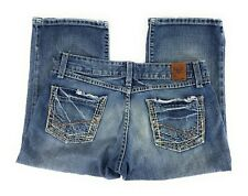 BKE Buckle Sabrina Capri Low Rise Thick Stitch Distressed Blue Jeans Women's 27
