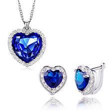 Halskette Ohrringe Set Ohrstecker Herz Zirkonia Strass Blau Silber Palano NEU