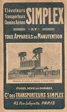 Publicité 1923 Elévateur SIMPLEX appareil de manutention transporteur