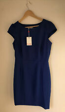 Vestido corto Louche UK12 Vestido Nuevo Con Etiquetas £ 45 Azul Cobalto Corte zip Cap Manga De Cambio