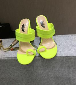 Women High Block Heel Belt Slip On Casual Summer Ladies Evening Fashion Slippers