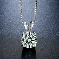 1CT Round Cut Diamond 14K White Gold Over Pretty Solitaire Without Chain Pendant