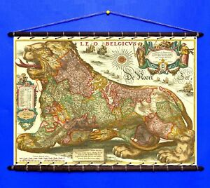 Antique Old Rare Map Leo Belgicus 1665, Canvas Swen w/ Wooden Vintage Hangers