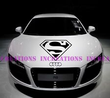 Superman Supercar Funny  Hood Stripe Any Car Decals Stickers Racing Graphic