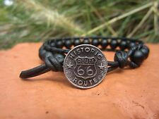 Handcrafted Gift Mens Matte Onyx Sports Surf Black Leather Bracelet w/ Route 66